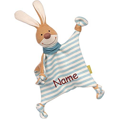 Sigikid Strick-Schnuffeltuch Hase mit Namen Bestickt, Schmusetuch Kuscheltier personalisiert für Jungs, Kuscheltuch Baby Kinder Geschenk-Idee zur Geburt, Taufe, Ostern, Weihnachten