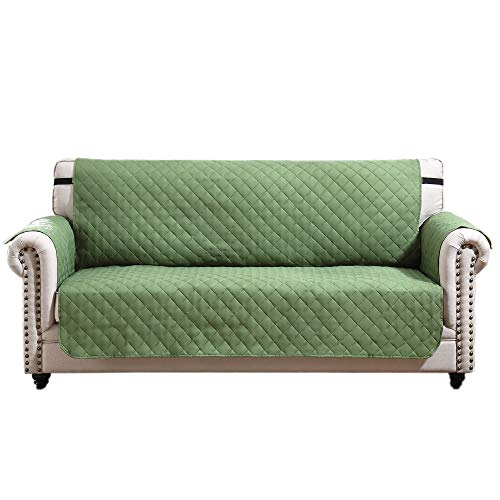 Argstar Reversible Sofa Cover Couch Slipcover Professional Furniture Protector Home Decor Green/Sage (3 Seater)