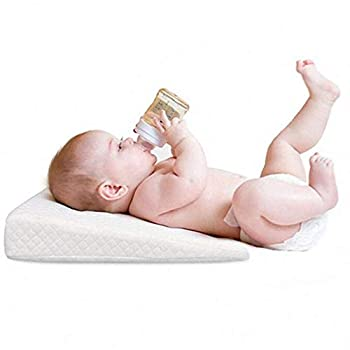Baby Crib Wedge Memory Foam Sleeping Wedge Nursery Pillow Infant Sleep Positioner Baby Crib Inclines Mattress with Removal Waterproof Cotton Cover - Reduce Colic & Acid Reflux White