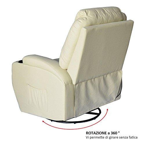 HOMCOM Poltrona Dondolo da Massaggio Poltrona Massaggiante Reclinabile a 8 punti Girevole a 360° in Simipelle 84 x 92 x 109cm Crema
