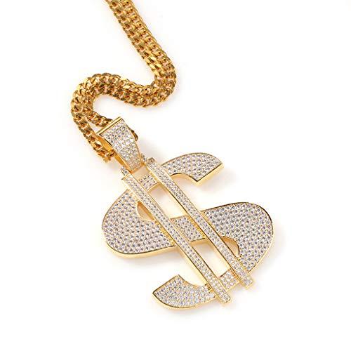 LALAWO Collana A Catena Placcata Oro/Argento, Collana con Ciondolo Simbolo del Dollaro Cantante Rap Hip-Hop, Regalo di Gioielli per Donna Uomo Ragazza,d'oro