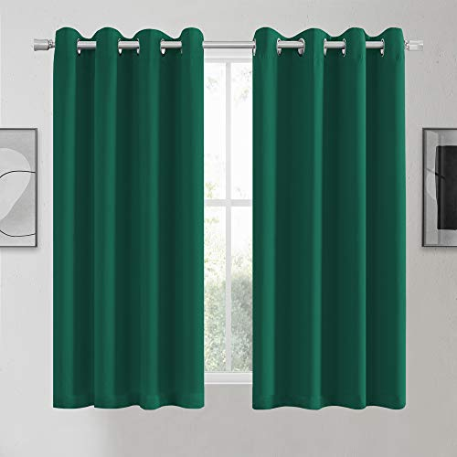 KEQIAOSUOCAI Green Blackout Curtains 63 Inch for Living Room - Thermal Insulated Light Blocking Grommet Dark Green Curtains Drapes Sets Emerald Curtain for Bedroom Kitchen, 2 Panels, 52Wx63L