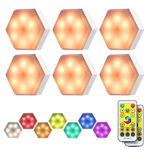 KINGSO RGB Schrankleuchten LED mit Fernbedienung, Schrankbeleuchtung Nachtlicht Unterbauleuchte Kabinett, Batteriebetrieben Schranklichter 4 Lichtmodi Timer für Kleiderschrank, Schlafzimmer - 6er Set
