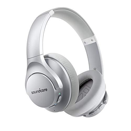 Soundcore Life Q20 Bluetooth Kopfhörer, Aktive Geräuschunterdrückung, 40 St. Wiedergabezeit, Hi-Res Audio, Intensiver Bass, kabellose Kopfhörer für Homeoffice, Online-Unterricht, Konferenzen (Silber)