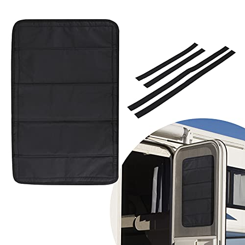 rv window covers BougeRV RV Door Shade Cover, Foldable RV Sun Shade Windshield Blackout Shower Curtains Coverage RV Accessories Fits for Most RV Interior Door Window Oxford Materials Black (25