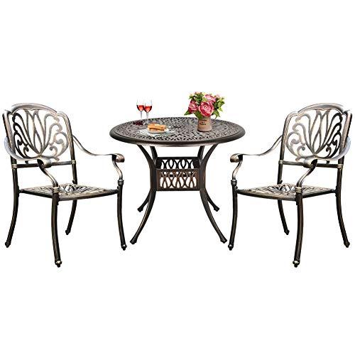 USSerenaY - Juego de 3 piezas de aluminio fundido para bistró al aire libre con 2 sillas de brazo, agujero para paraguas, acabado bronce antiguo (2 sillas + 1 juego de mesa)