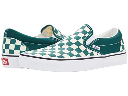 Vans Men's Classic Slip On, (Checkerboard) Bistro Green/True White, Size 5
