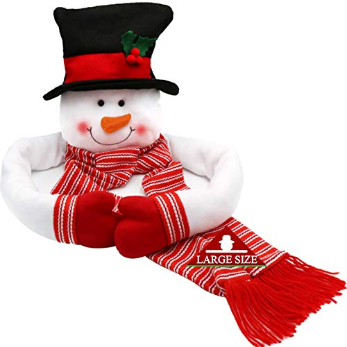 OurWarm Christmas Tree Topper Snowman Hugger with Large Hat Shawl and Poseable Arms Holiday Decorations Winter Wonderland Decoration Xmas Party Supplies