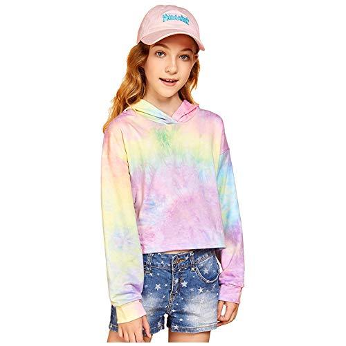Langarm-Pullover für Kinder, Teenager, Mädchen, Batik-Optik, Sweatshirts Gr. 140, B
