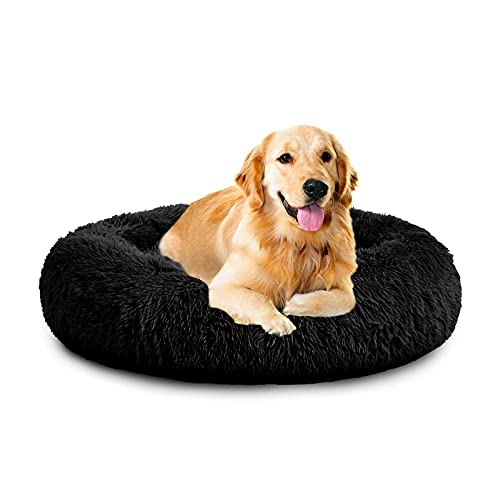 Calma Cama para Perros Gatos, Nido Gato Calentito Redondo Suave Felpa Lavable En La Lavadora Cojín, Interior Mascotas Anti-Ansiedad Ortopedica Grueso Auto-Calentamiento(Negro 40-120Cm),80cm