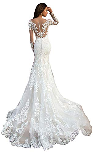 Melisa Slim-line Lace Mermaid Wedding Dresses Long Sleeve Sexy Vintage Bridal Ball Gowns