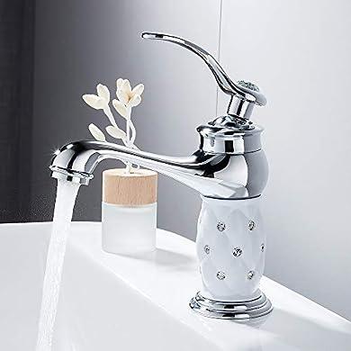 Foto di Miscelatore Lavabo Bagno Basso Monocomando Elegante Diamantato Rubinetto Bagno Lavabo con Acqua Calda e Fredda