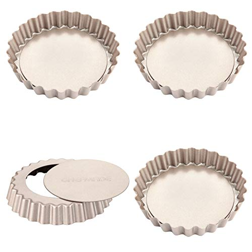 CHEFMADE Mini Tart Pan Set, 4-Inch 4Pcs with Removable Loose Bottom Non-Stick Round Quiche Bakeware for Oven and Instant Pot Baking (Champagne Gold)