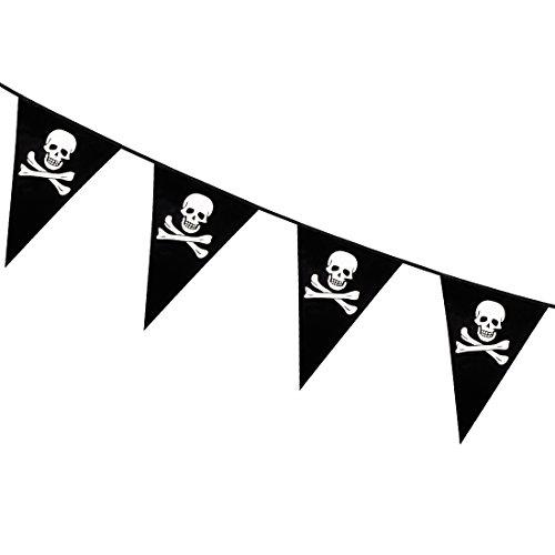 Drapeaux décoratifs Anniversaire d'enfant - 6 m | Guirlande Fanion fête de Pirates | Articles festifs thème Corsaires | Festons boucaniers