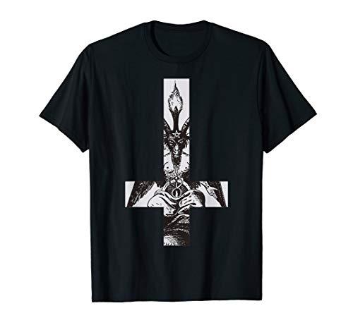 Baphomet Satan Okkult Schwarze Magie Umgedrehtes Kreuz Hail T-Shirt