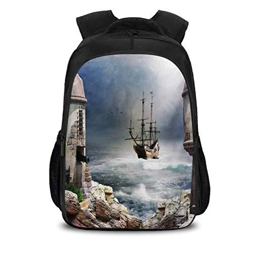 Mochila para portátil de viaje, barco de vela pirata, barco comerciante anclado en la bahía de fuerte rocas abandonadas en la costa, apto para actividades en interiores y...