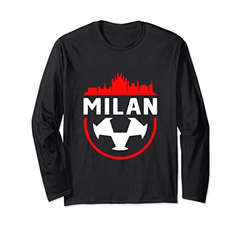 Skyline della città vintage tifoso di calcio di Milano Maglia a Manica