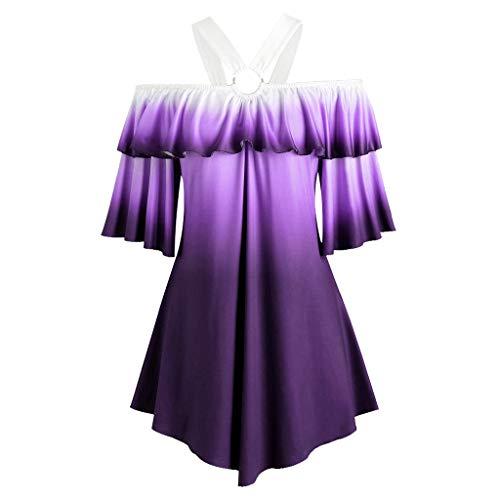 Miao Damen-Shirt, Übergröße, kurzärmelig, Farbverlaufdruck, Bluse, rückenfrei, Pullover, Oberteil, Shirt, Lotusblatt-Ärmel Gr. Large, violett
