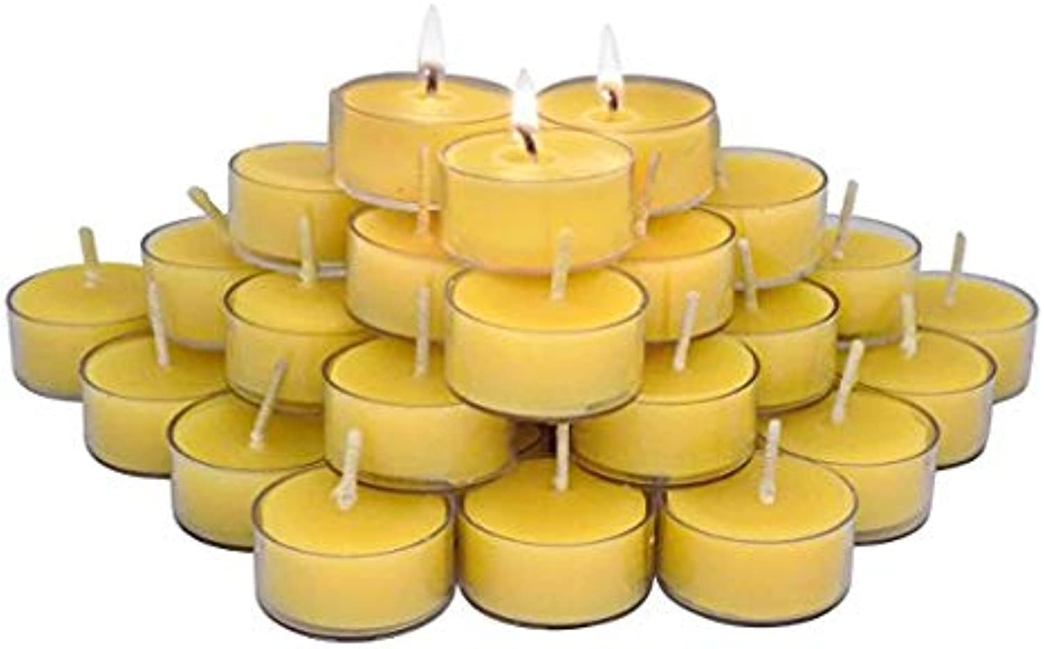 ELITE SELECTION Pure Beeswax Candles – 48 Handmade Beeswax Tea Light Candles – Smokeless Burning Candles - Natural Smell Candles – Tea Light Candles