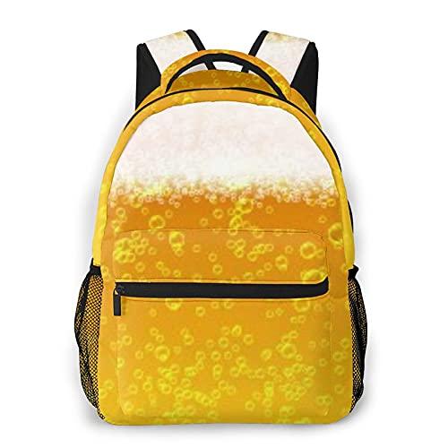CVSANALA Multifuncional Casual Mochila,Cerrar las burbujas de espuma de cerveza ligera,Paquete de Hombro Doble Bolsa de Deporte de Viaje Computadoras Portátiles
