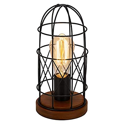 BTY Industrial Table Lamp, Wood Retro Edison Desk Lamp Vintage Small Nightstand Bedside Steampunk Table Lamp Metal Shade for Bedroom Living Room, Black
