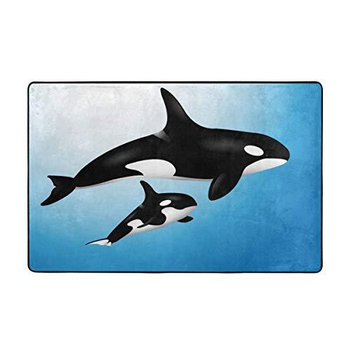 DIYAB Alfombra de baño Alfombra Antideslizante,Orca Familia Madre y bebé Nadando en el océano Niños Paternidad Tema 29.5X17.5in