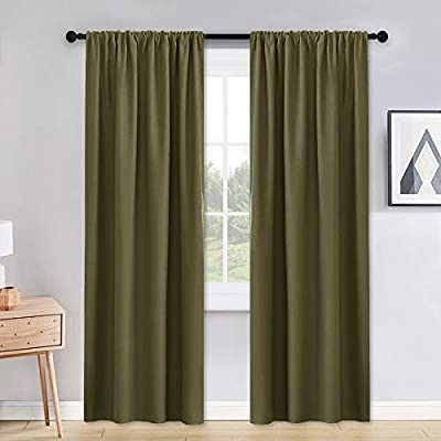 PONY DANCE Thermal Insulated Curtains - W 42 x L 90 inches Olive Green Blackout Curtains Light Block Privacy Protect Long Draperies for Bedroom Xmas New Year Decoration, Set of 2