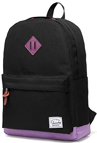 Vaschy Classic Lightweight School Backpack Fits 15-Inch Laptop Water Resistant Rucksack for Campus, Travel, Work, (Black Purple)