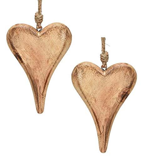 Marzoon 2X Holz Anhänger Herz je 15 x 10 cm, Massiv Holzherzen zum Hängen Holz-Deko Hochzeitsdeko Raumdeko Fensterdeko