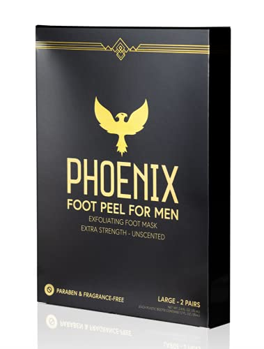 Phoenix Foot Peel for Men - Large - Extra Strength - Exfoliating Dry Feet Treatment - 2 Pack - Callus Remover - Unscented - Paraben and Fragrance Free -
