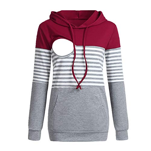 Nobrand - Maglione per allattamento da donna, multifunzione, a righe, con cappuccio Gules XXL