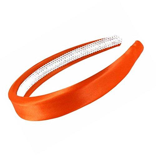 Orange vif recouvert de satin rembourré Alice Bandeau pour cheveux 2,5 cm (2,5 cm) Large