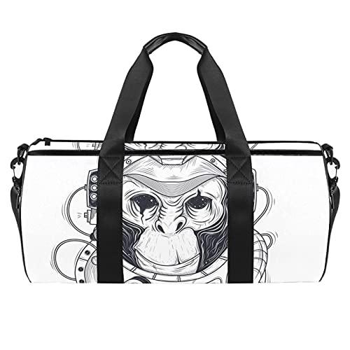 Animal Monkey - Borsone cilindrico da viaggio, con tasca bagnata, leggera, da viaggio, con tracolla per uomo e donna