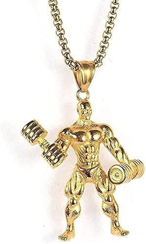 Yiffshunl Collar Collar de Acero Inoxidable para Hombre Collar con Colgante de Fitness Collar de Acero de Titanio Colgante con Mancuernas Joyas Collar de Regalo Punk para niñas y niños