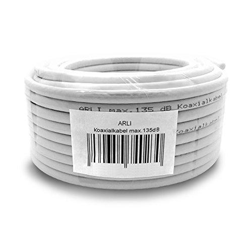 50m 135dB Sat Koaxialkabel Koax Kabel Antennenkabel 4K FullHD UltraHD 4K 5-Fach geschirmt für DVB-S / S2 DVB-C DVB-T BK Anlagen Satkabel HD UHD 3D ARLI verlegekabel 5 Fach schirmung 135 dB 50 m