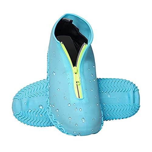 Lady of Luck Silikon Überschuh, Wasserdicht Schuhüberzieher, Überschuh Wasserdichte und Rutschfeste Überschuhe Wiederverwendbar, mit Verstärkter Antirutsch-Sohle für Regen (Blauer-l)