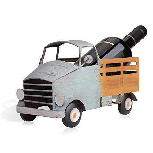 KUKU Estante para Vino, Estante para Botellas Creativo, Forma De Camión, Estante De Exhibición De Escritorio, Decoración Artística, Metal, Usado para Almacenar Vino, Regalos Navideños