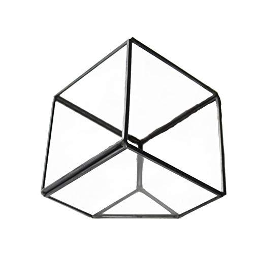 MINGZE Terrario de Cristal Casa de Flor, de Vidrio Geométrica Cristal Adorno Hogareño para...