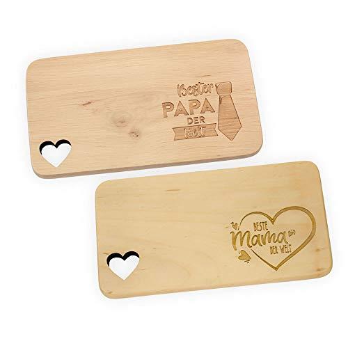 Spruchreif PREMIUM QUALITÄT 100% EMOTIONAL Tabla de desayuno con grabado: «Beste Mama & Bester Papa» Set | Tabla de madera con grabado | Regalos para mamá y papá | Regalos para padres