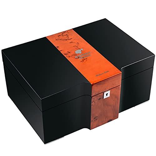Caja humidificadora de Puros, Caja de Almacenamiento de Cedro Hecha a Mano de Doble Capa con higrómetro humidificador, Caja de Puros para 100-150 Puros, Regalo para Hombres (Size : 37×25.5×17.5cm)