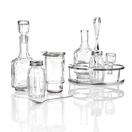 Kerafactum Tischmenage Tisch Menage 5 teilig Essig Öl Pfeffer Salz und Senfglas mit Löffel Glas Behälter nachfüllbar Edelstahl Ständer Tischkultur Streuer Ölflasche Salzstreuer Pfefferstreuer