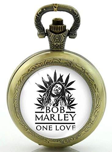 Bob Marley One Love Quarz-Taschenuhr mit Halskette und Ersatzbatterie, in Geschenkbox