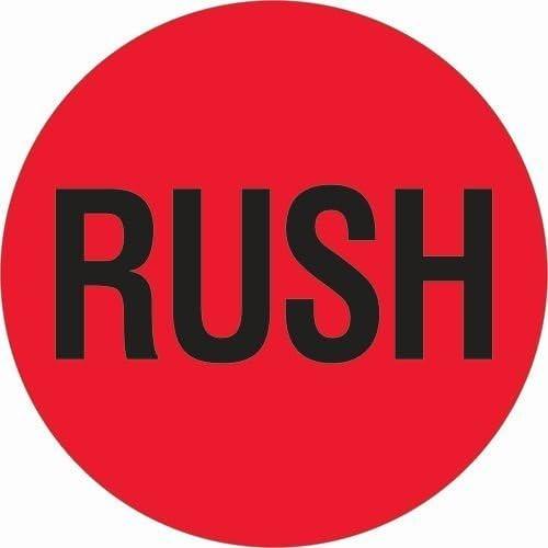 Tape Logic DL1740 Instructions Label, Legend  Rush , 2  Diameter (Roll of 500) by Tape Logic