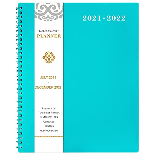 2021-2022 Monthly Planner - 18-Month Planner with Tabs, Pocket, Label, Contacts and Passwords, 8.5' x 11', Jul. 2021 - Dec. 2022, Twin-Wire Binding - Teal by Artfan