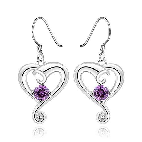 Charming Beautiful Heart Shape Anhänger Dangle Ohrring Romantische Ohrentropfen Elegante Frau Embedded Shiny Zircon Exquisite Schmuck Gugutogo