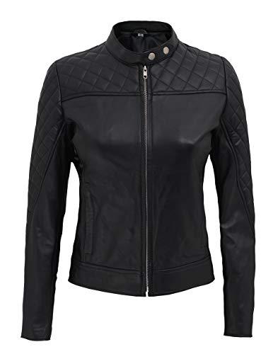fjackets Black Leather Jacket for Women - Genuine Quilted Lambskin Slim Fit Woman Leather Jacket   [1300421], Ellen Black XS