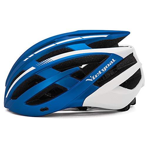 VICTGOAL 自転車 ヘルメット 大人用 ロードバイク ヘルメット 超軽量 高剛性 充電LEDライト 男女兼用 ヘルメット通気 サイズ調整可能 57-61 cm M/L (青と白)
