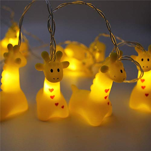 Cute Animal String Lights Copper Wire Led Animal Lamp Indoor Battery Operated Fairy Lights Decorative Festival Lights for Bedroom Party Holiday Christmas (Giraffe)