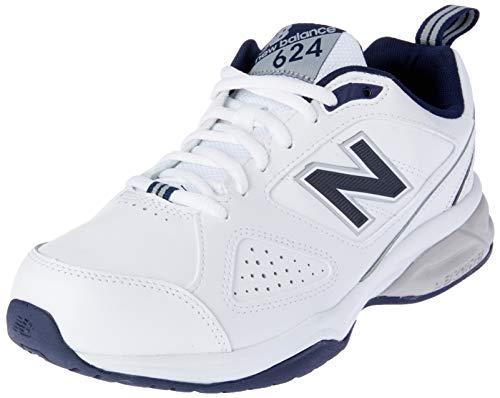 New Balance 624, Zapatillas Deportivas para Interior Hombre, Blanco (White/Navy Wn4), 44.5 EU