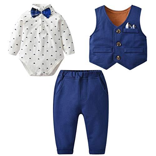 Famuka Baby Anzüge Baby Junge Sakkos Taufe Hochzeit Babybekleidung Set (Blau 3, 59, 6_Months)